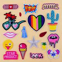 2016 Cute cartoon red pink fashion Embroidered patches for clothes Iron On patch girl's idea deal with clothing(China (Mainland))