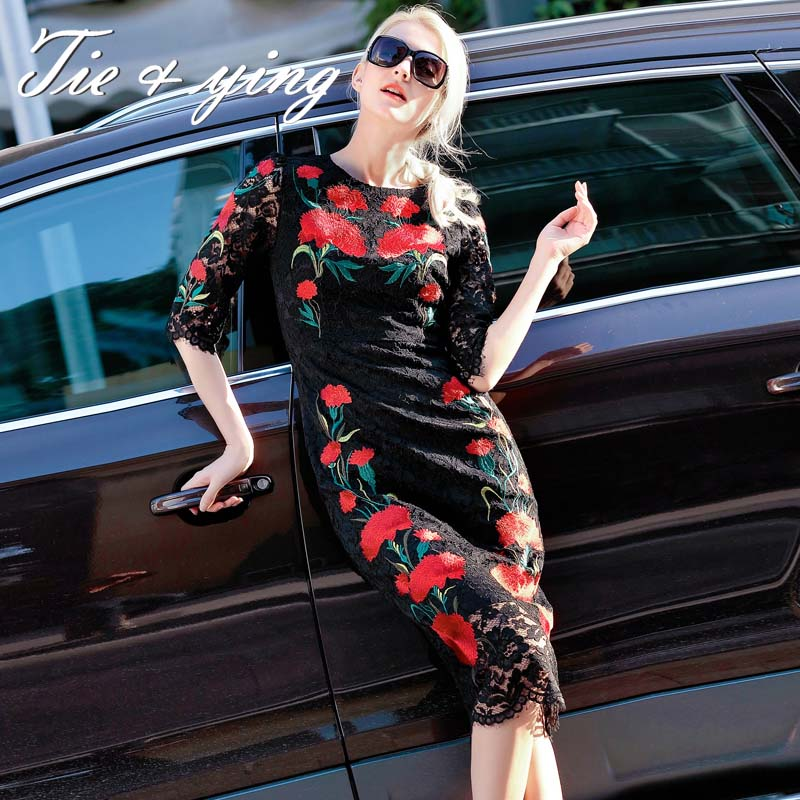 2016 vestidos de noiva womens maxi dresses American and European fashion runway luxury brand black vintage embroidery slim dress(China (Mainland))