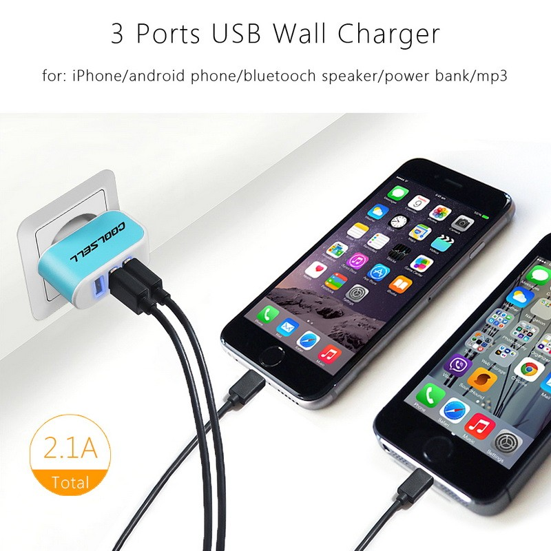Hunocn 3 Ports USB Wall Charger travel charger USB wall charger for iPhone Samsung HTC Universal Mobile Phone/Tablet Carregador