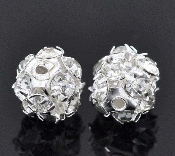 12 Pcs Silver Plated Filigree Rhinestone Balls 8mm(China (Mainland))