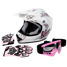 DOT Youth Pink Butterfly Helmet  Dirt Bike ATV Helmet Motocross Goggles+gloves S M L(China (Mainland))