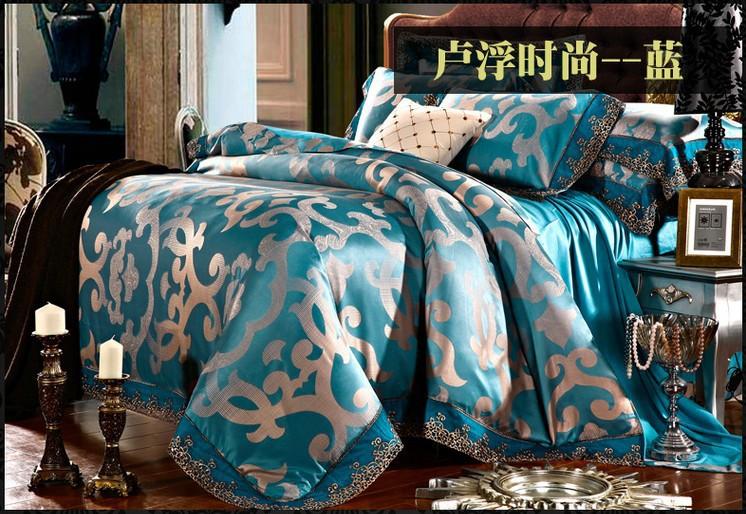 Luxe bleu dentelle satin jacquard ensemble de literie roi queen housse de couette couvre-lit drap drap de lit maison texile maison de drap(China (Mainland))