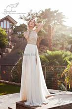 2016 Elegant A-Line Halter Lace Chiffon Wedding Dresses Split Front Side Open Back Beach Bridal Gowns St62(China (Mainland))