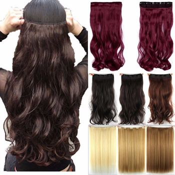 Free shipping Super Long one piece 5 clips in hair extensions amazing curly/Wavy synthetic hair 3/4 full head