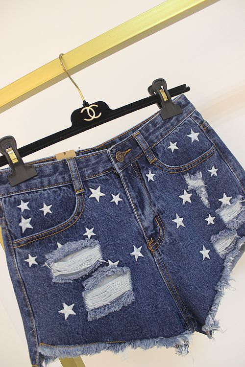 South Korea Shopping 2015 summer women new hole in the side of the five-pointed star embroidered fringed denim short shorts(China (Mainland))