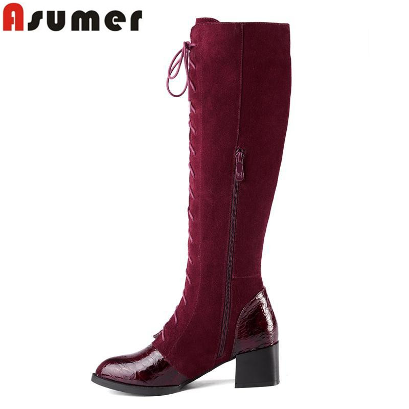 2016 new top quality fashion boots pointed toe square heel nubuck leather knee high boots lace up plain winter for women<br><br>Aliexpress