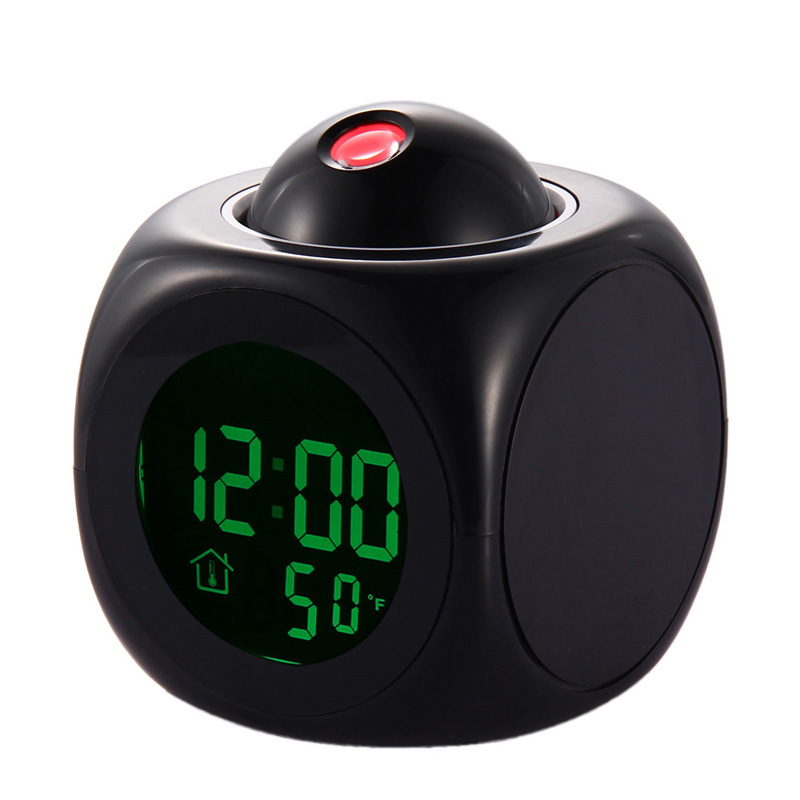 Cute Black Multifunction Vibe LCD Talking Projection Alarm Clock Time Temp Display Free Shipping(China (Mainland))