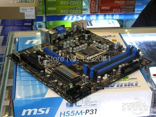 Материнская плата для ПК For MSI H55M-P31 100% MSI h55m/p31 , DDR3 LGA1156 /i3/i5/i7/motherboard asus p7p55 lx deluxe desktop motherboard p55 socket lga 1156 i3 i5 i7 ddr3 16g atx uefi bios original used mainboard on sale