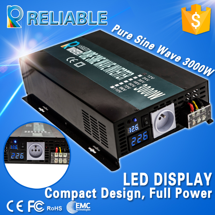 3000W Pure Sine Wave Inverter 12/24/48V to 100/110/120/200/230/220V Car Power Inverter LED Display, Full power, Free shipping(China (Mainland))