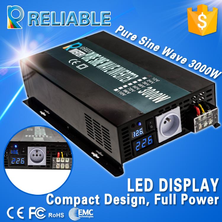3000W Pure Sine Wave Inverter 12/24/48V to 100/110/120/200/230/220V Car Power Inverter LED Display, Full power, Free shipping(China (Mainland))