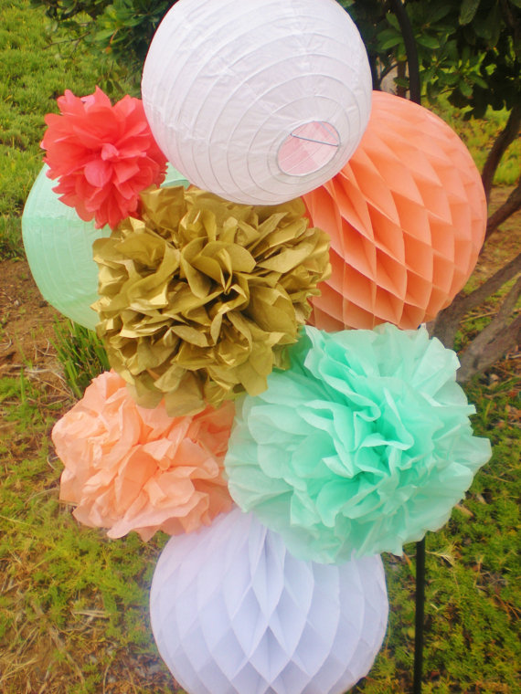 8pcs/lot Party Decoration Set Home&Garden Wedding Supplies Tissue Paper Pom Poms/Balls/Lanters Outdoor Hanging Fluffy Flowers(China (Mainland))