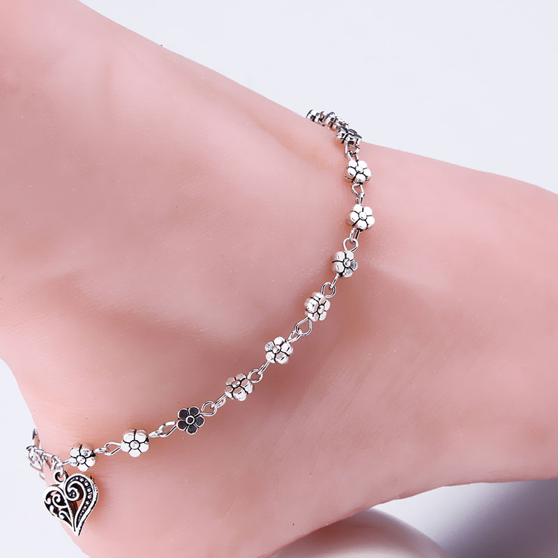 Heart Flower Foot Jewelry Sexy Women Ankle Body Chain Jewely Antique Silver Anklets BS88(China (Mainland))
