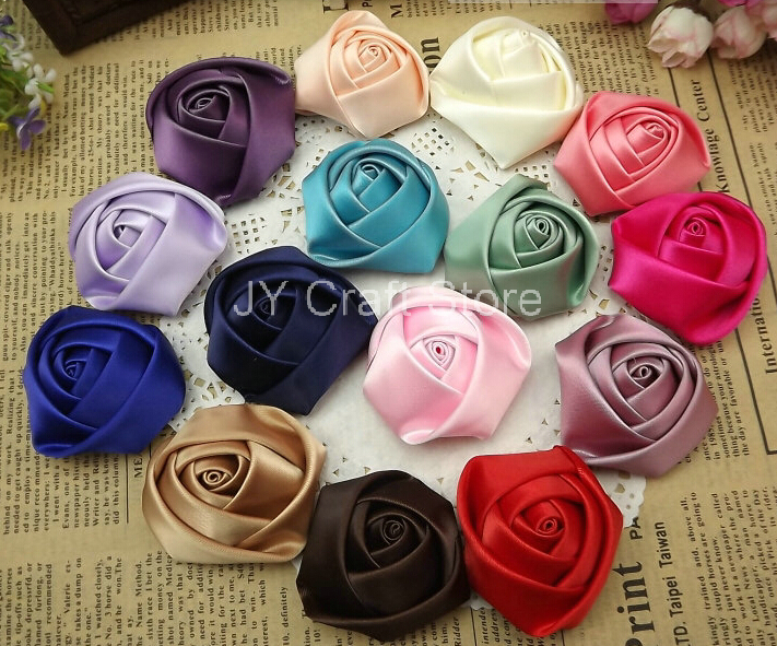100pcs/lot 45-50mm satin rolled rosette rose handmade flower for hair ornaments,garments DIY accessory(pink,lavender,red,coffee)(China (Mainland))