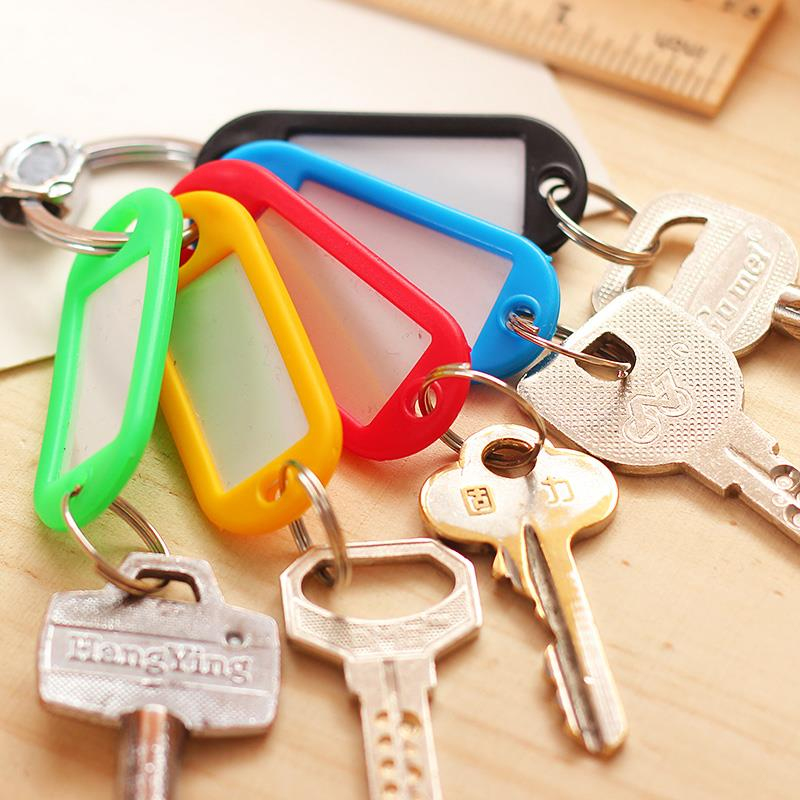 30pcs Coloured Plastic Key Fobs Luggage ID Tags Labels Keyrings with Name Cards EC104(China (Mainland))