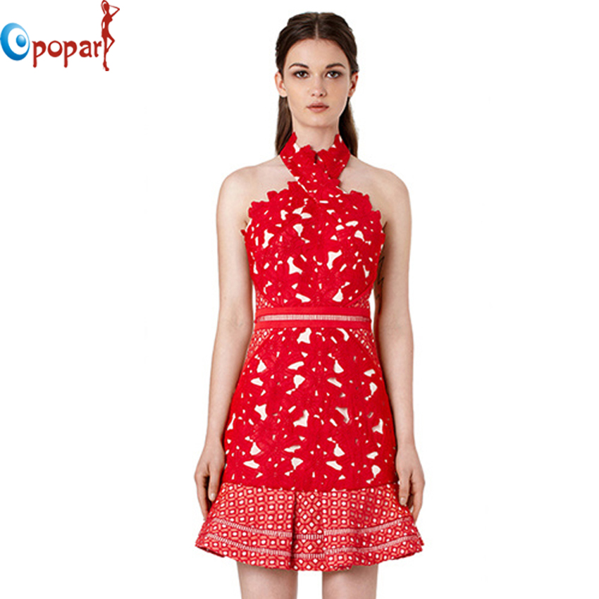 2016 high quality new sexy fashion lady women red halter lace dress mini celebrity backless party dresses free shipping LS170(China (Mainland))