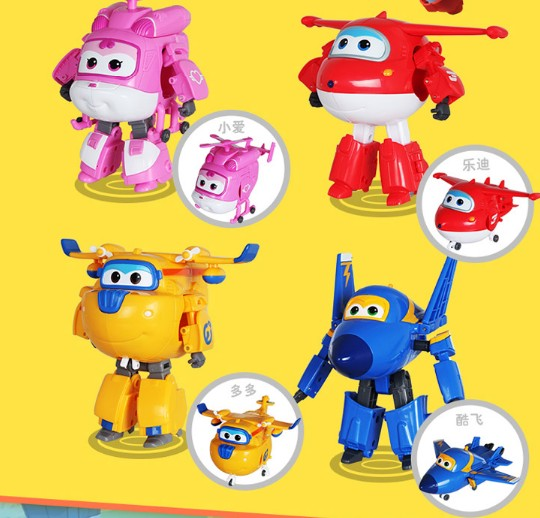 4pcs/lot robot Transform festival gifts deformation helicopter fire truck police action figure super wings doll boys girls toy(China (Mainland))