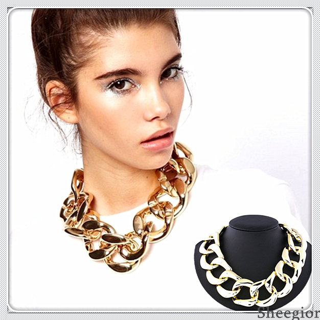 2014 Fashion Chunky Chain Necklace Jewelry European & American Exaggerated CCB Gold Statement choker necklace pendants