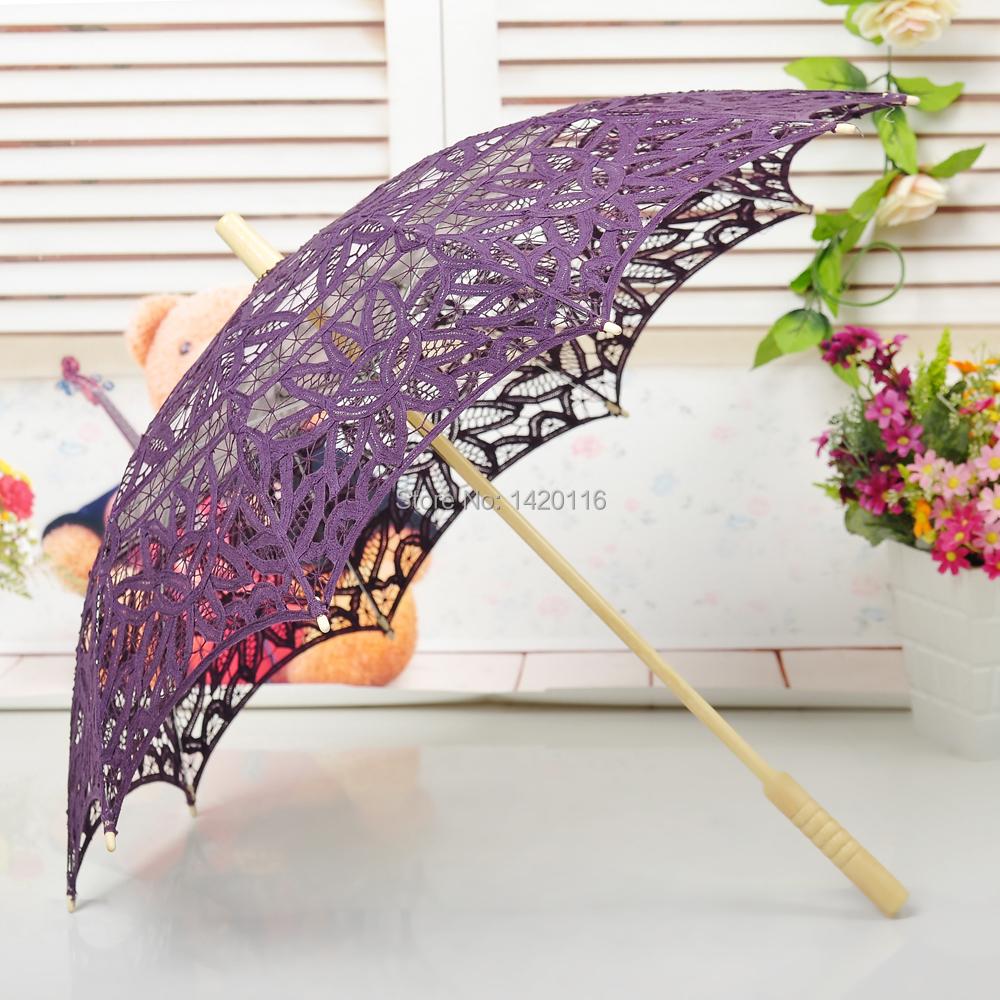 30 polegada artesanais de algodão rendas guarda-sóis guarda-chuva nupcial do casamento decoração Party Favors : roxo escuro(China (Mainland))