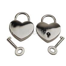 Fashion Small Heart Shape Padlock Mini Luggage Craft Diary Key Lock Silver(China (Mainland))