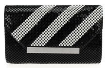 DC1989 Elegant Women Crystal Evening Party Clutches Long Chain Matt Black Finish Aluminum Mesh Zipper Pocket 2 Chamber PU Lining(China (Mainland))