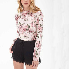 Women vintage floral blouses blusa feminina stand collar long sleeve office lady shirts Europen style casual brand tops ST2438(China (Mainland))