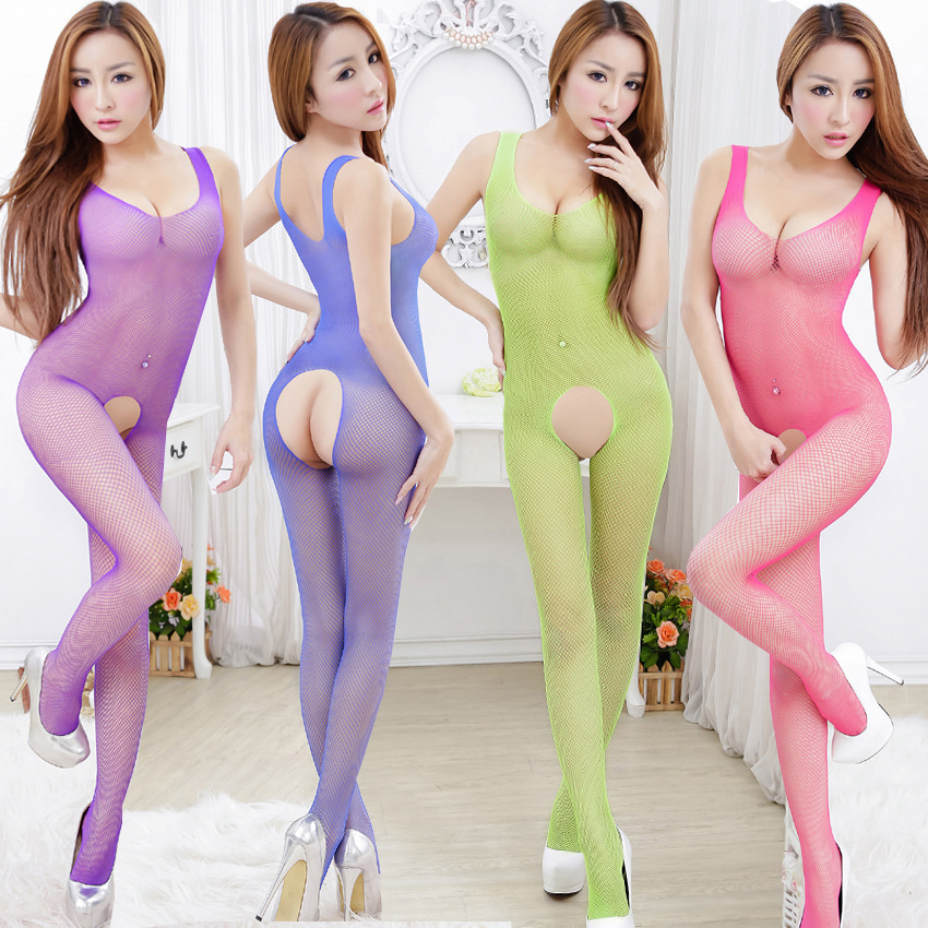Summer fishnet stockings underwear women Sexy Lingerie open crotch bodystocking sexy bodysuit full body latex suit sex products(China (Mainland))