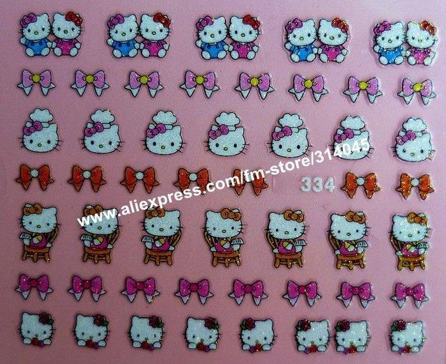 New Arrival 25 Kinds Hello Kitty Patterns Nail Art 3D Hello Kitty Nail Sticker 3D Beauty Nail Patch 3D Nail Seal 500Packs/Lot