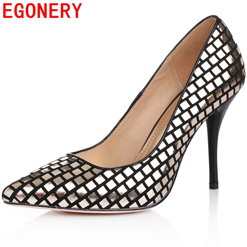 gold silver blue classical slip-on shoes women basic Office/Career pumps Classics thin heels pointed toe genuine leather pumps<br><br>Aliexpress