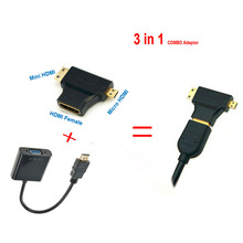 HDMI to VGA Cable Micro Mini HDMI Input Adapter to VGA output 1080p HDMI Converter Connector For Xbox 360 PS3 PS4 PC DVD LCD TV