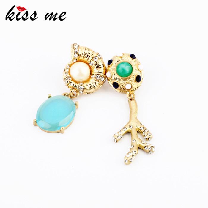New Designs 2015 Fashion jewelry Graceful Rhinestone Snail Branch Asymmetrical earrings(China (Mainland))