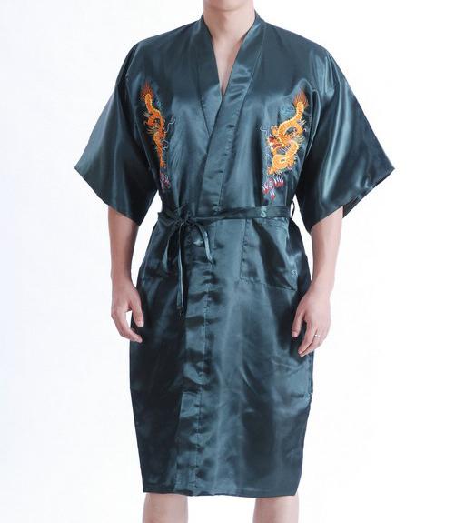 Лето новых китайских людей атласная халат платье традиционный вышивает дракон кимоно ...