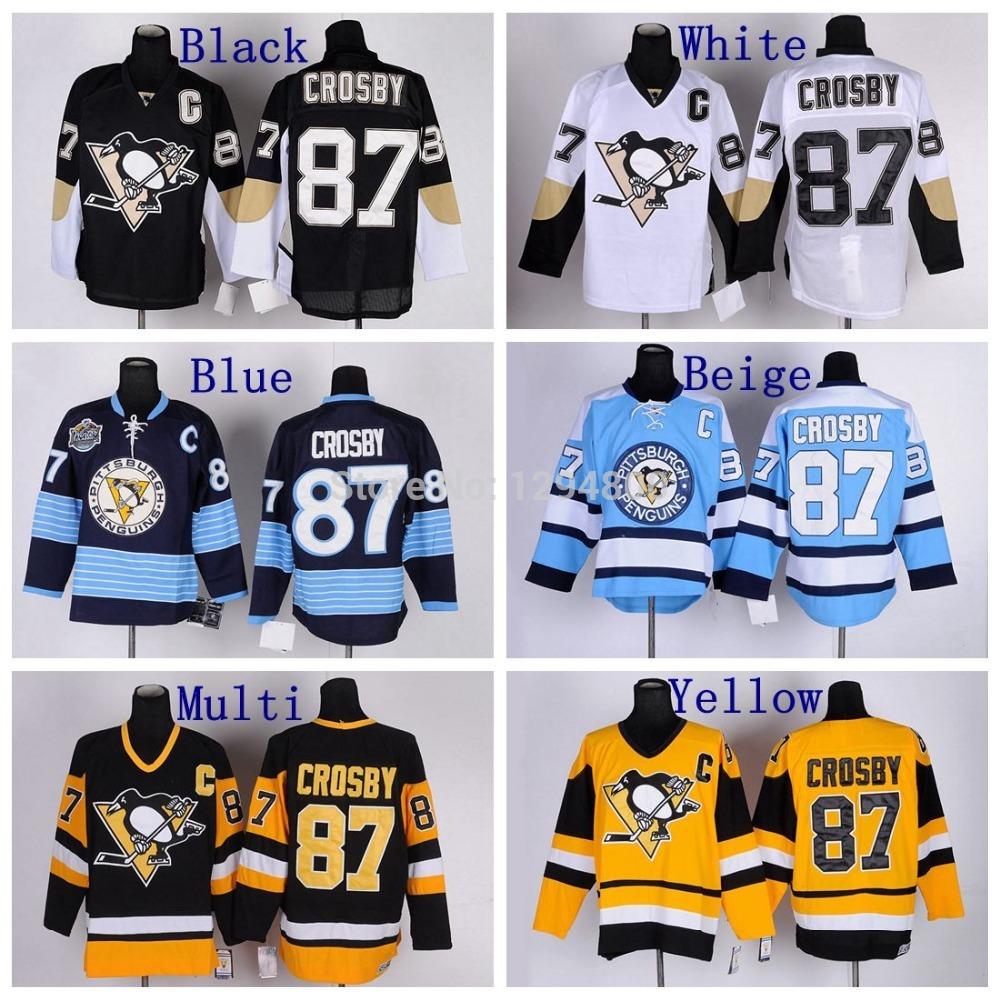 Stitched Mens #87 Sidney Crosby Jersey Home Black Road White Alternate Navy Blue Hockey Jerseys Free Shipping(China (Mainland))
