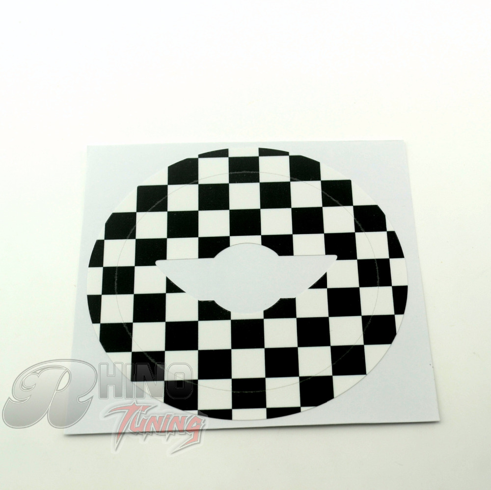 Mini Cooper Black and white grids Car Steering Wheel Sticker Old Fashion Checker Vinyl Decal(China (Mainland))