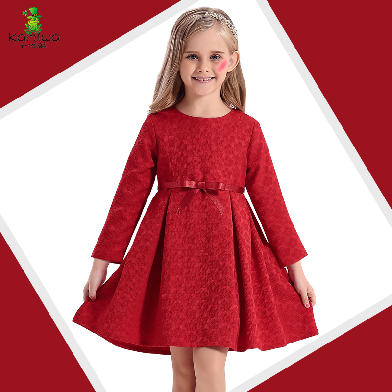 2016 Autumn Long sleeve Toddler Flower Baby Girls Dresses Jacquard Cotton Teenage Butterfly Ribbon A-line Children Clothing(China (Mainland))