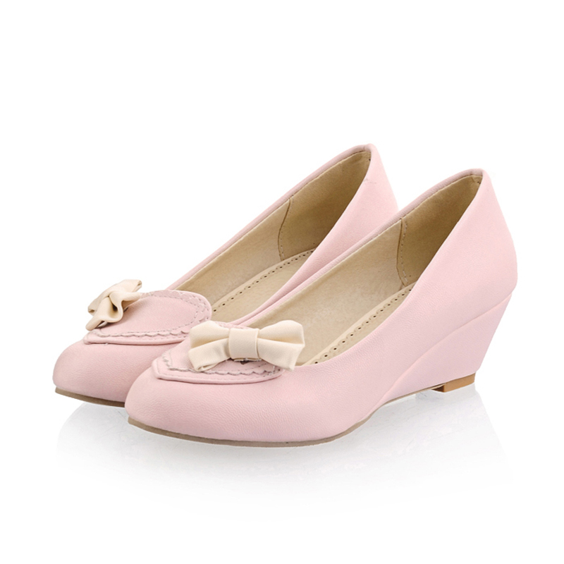 South Korea sweet princess style sexy pointed toe pumps fashion bowknot slip blue green beige pink med with wedges women's shoes(China (Mainland))