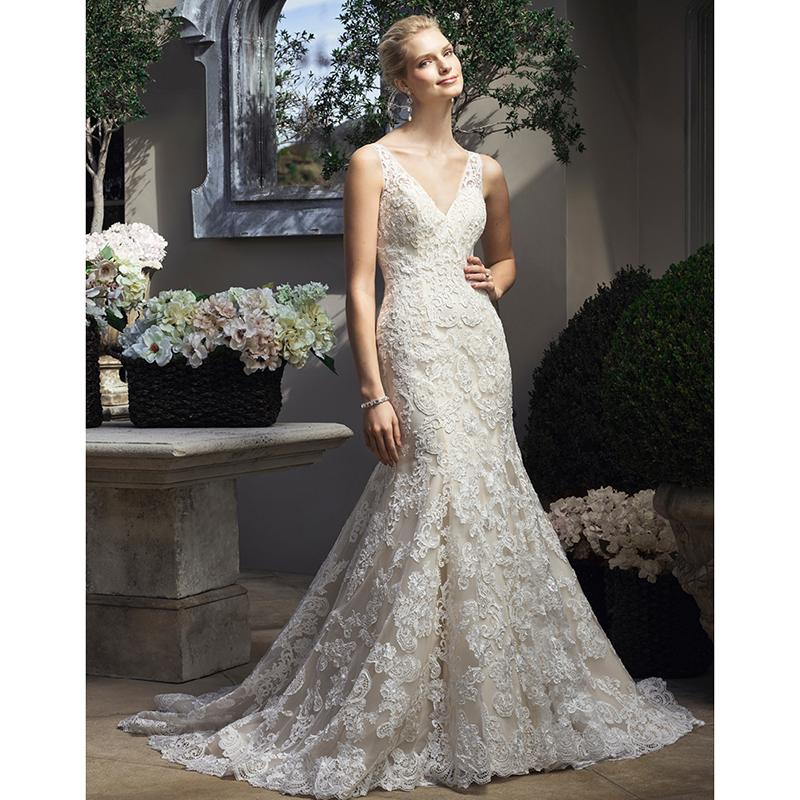 Buy glarmous lace wedding dresses with v for Lace v neck backless wedding dress