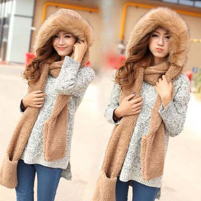 2015 New Fashion Women Scarf Set Thick Warm Hat Scarf and Gloves Set Winter Hats Scarfs Sets with Pockets Women's Hats(China (Mainland))