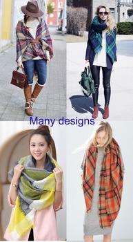 2015 Za Winter Autumn scarf Knit oversize blanket tartan plaid stole Designer Women Bandana Acrylic scarf shawl 140x140cm wrap