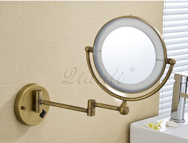bath mirror bronze wall mounted 8 inch brass 3x 1x. Black Bedroom Furniture Sets. Home Design Ideas