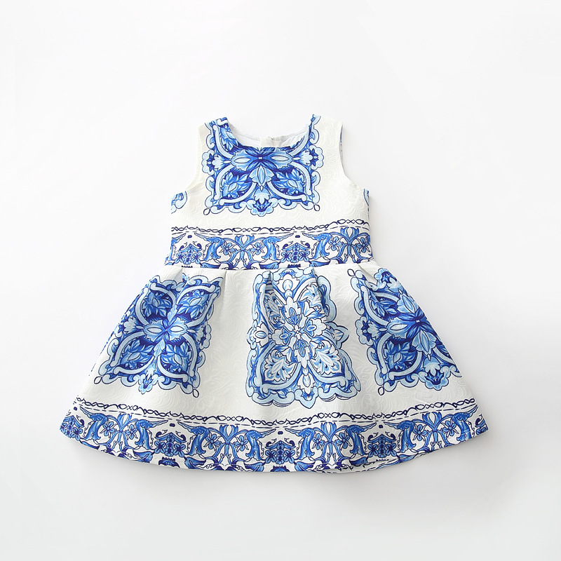 New Childrens Chinese style Dress Girls Blue and white porcelain printing Vest dress Princess Dresses wholesale<br><br>Aliexpress
