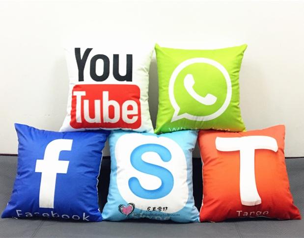 Candy Color Social Network Media Logo Cushion Cover Skype Facebook YouTube Telephone Logos Pillow Covers Soft Pillowcase 40x40cm(China (Mainland))
