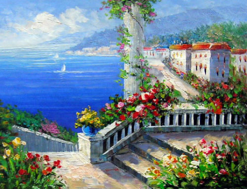 Oil painting Mediterranean landscape with house flowers by beach Handmade 560(China (Mainland))