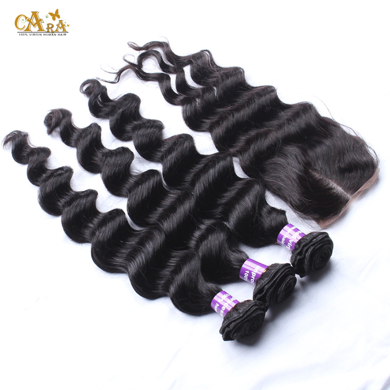 6A Filipino Virgin Hair With Closure Unprocessed 3 Bundles With Closure Peruvian Loose Wave Human Hair Bundle With Lace Closure