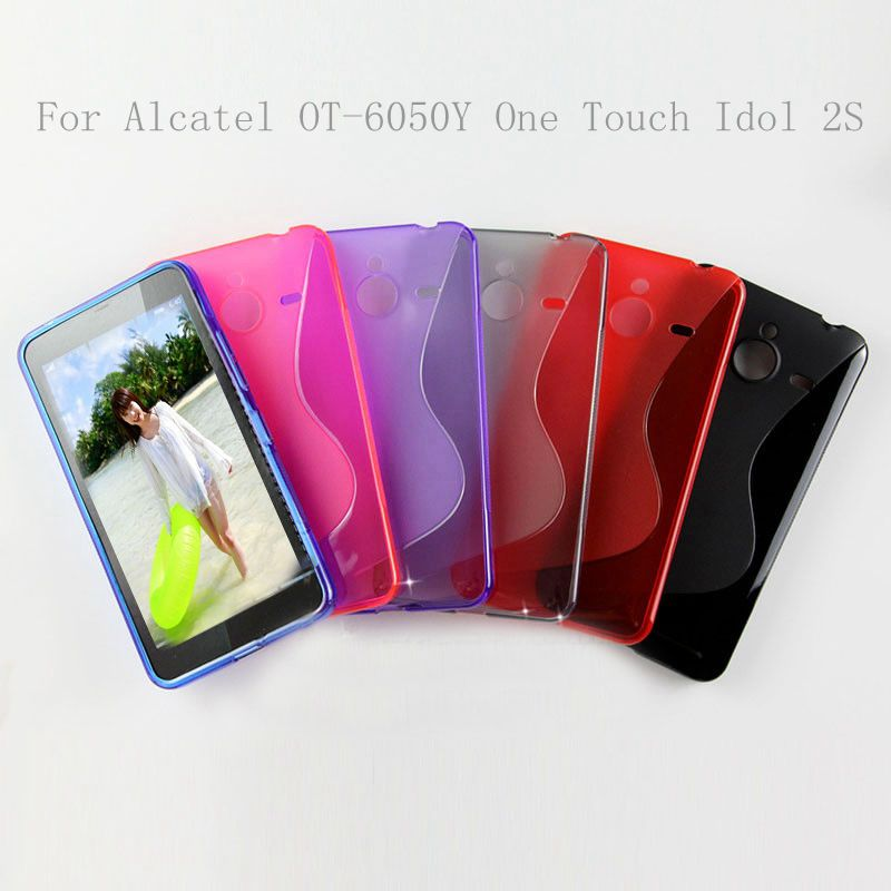 S Line Wave Soft Gel Cover For Alcatel OT-6050Y/One Touch Idol 2S TPU Case + Stylus Pen(China (Mainland))