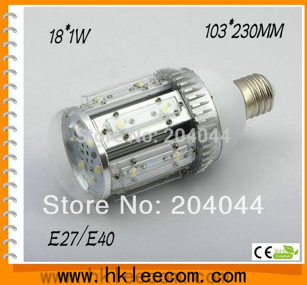 free shipping:2pcs/lot ,18w led street light  E26/27,E40 LED base ,rotation 360 degress,AC85-265V Input voltage,IP54 ,CE Rohs.<br><br>Aliexpress