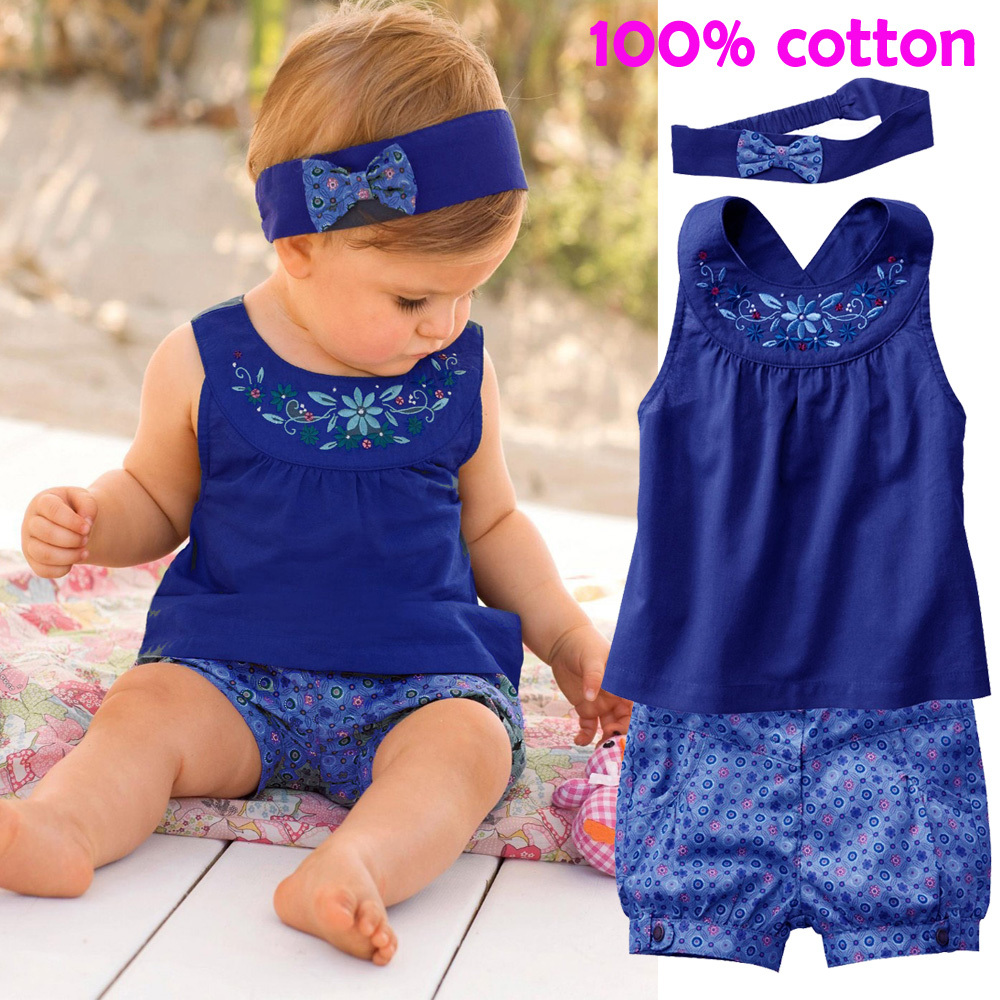 clothing sets 2015 new Blue baby suits/Baby Jumpsuits/climb clothes kerchief+ sleeveless dress+ gingham plaid pant/ New arrived(China (Mainland))