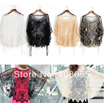 Summer 2015 women Lace Floral Blouses Embroidery See-through Blouse Smock Overall Loose Style Fashion Tops Blouse Black Beige
