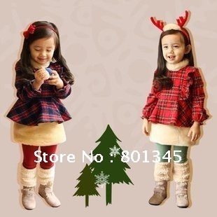 Free Shipping,1pieces/lot,children autumn winter red color Christmas gift/leisure wear/pajamas cotton coat,with dress,2-8year