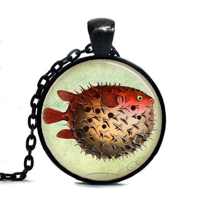 Free shipping Pufferfish Necklace,Fish Jewelry,Nautical,Marine Life,Puffer Fish,Ocean Art Pendant Necklace(China (Mainland))