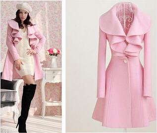 Punk Sweet Lady Woolen Outerwear Overcoat Turn-Down Collar Brand Vintage Coat Dress Autumn-Winter Wool Long Ruffle Design Jacket(China (Mainland))
